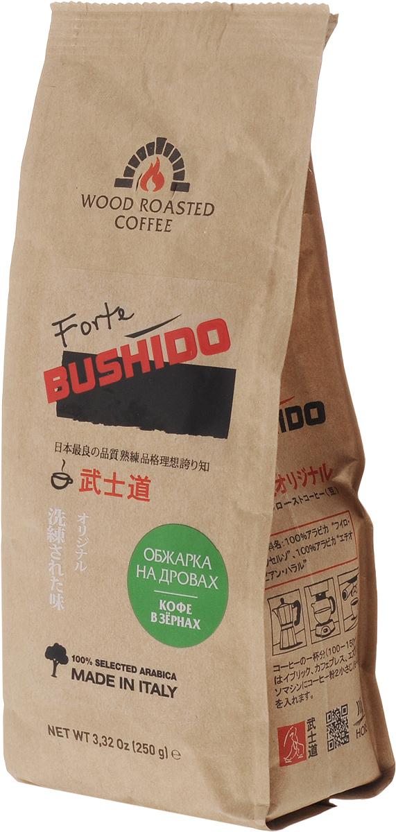Bushido Forte кофе в зернах, 250 гOG25012003Кофе в зернах Bushido Forte обжарен на дубовых дровах. Напиток имеет насыщенный плотный вкус, яркий аромат лесных ягод и цитрусовых с легкими нотками дубовой дымки.
