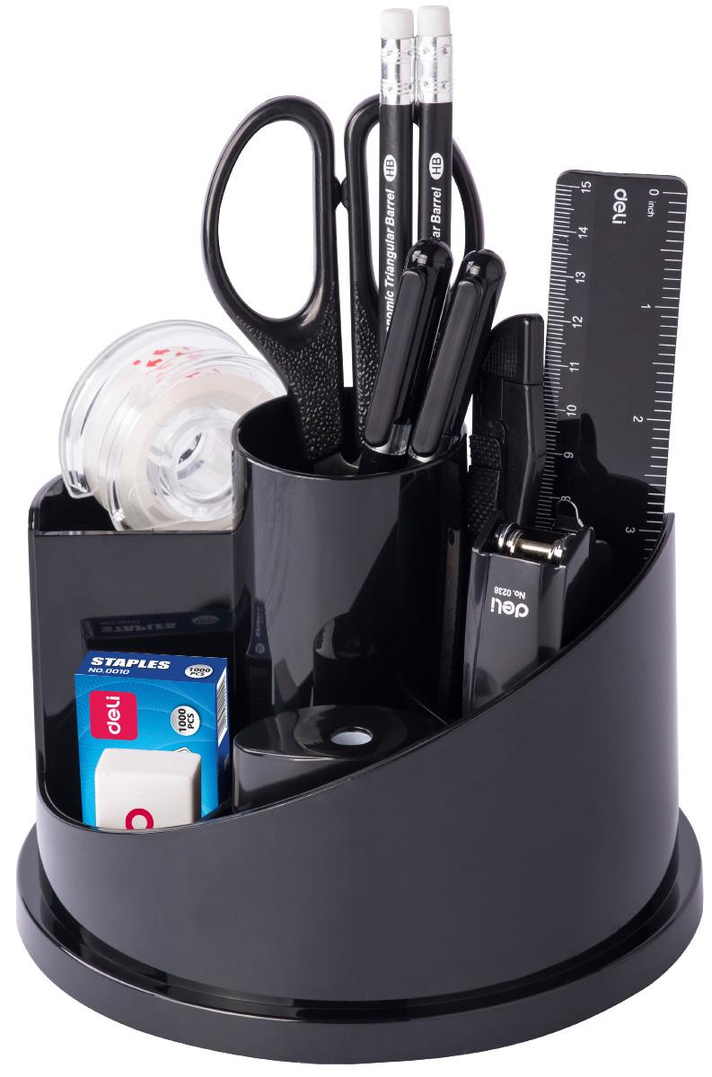 Deli Канцелярский набор цвет черный 15 предметовE38250AВращающийся настольный набор включает 15 предметов: антистеплер, нож, скрепки, ножницы, гвоздики, зажимы, ластик, 2 карандаша, скобы, ручку, линейку, точилку, степлер.
