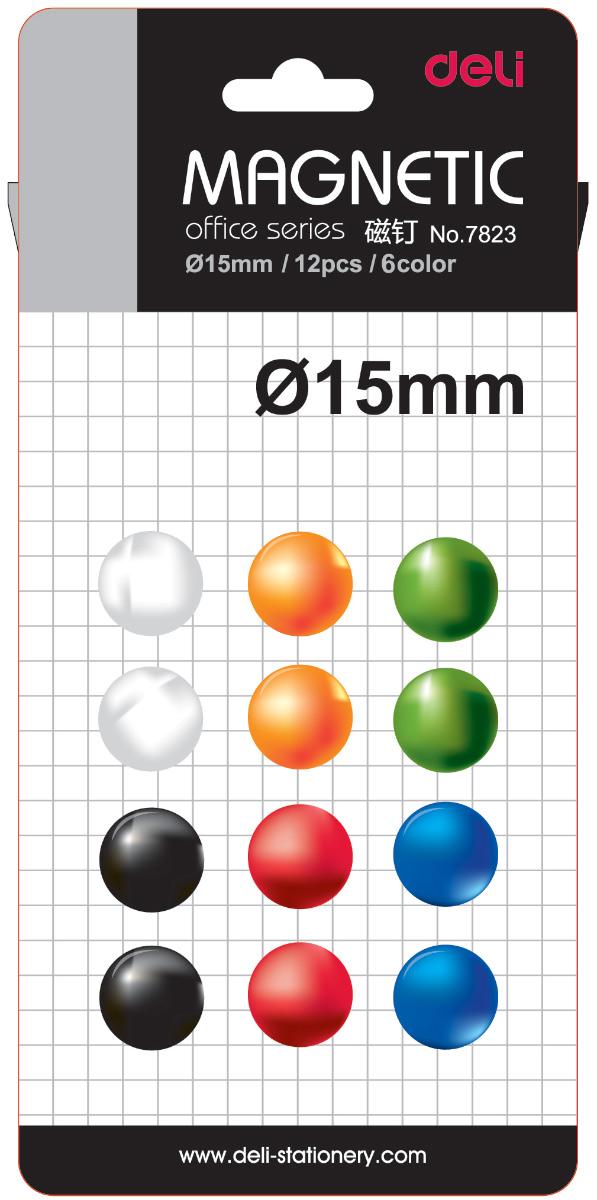 Deli Магнит для досок 15 мм 12 штE7823Магниты для досок разноцветные, круглые. Упаковка - блистер.