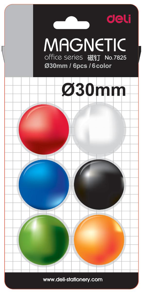 Deli Магнит для досок 30 мм 6 штE7825Магниты для досок разноцветные, круглые. Упаковка - блистер.