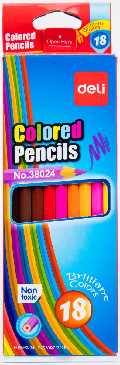 Deli Набор цветных карандашей 18 штE38024Разноцветные карандаши не оставят равнодушными ваших детей. В упаковке 18 карандашей. Цветные карандаши Deli безопасны и сертифицированы.