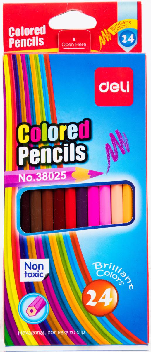 Deli Набор цветных карандашей 24 штE38025Разноцветные карандаши не оставят равнодушными ваших детей. В упаковке 24 карандаша. Цветные карандаши Deli безопасны и сертифицированы.