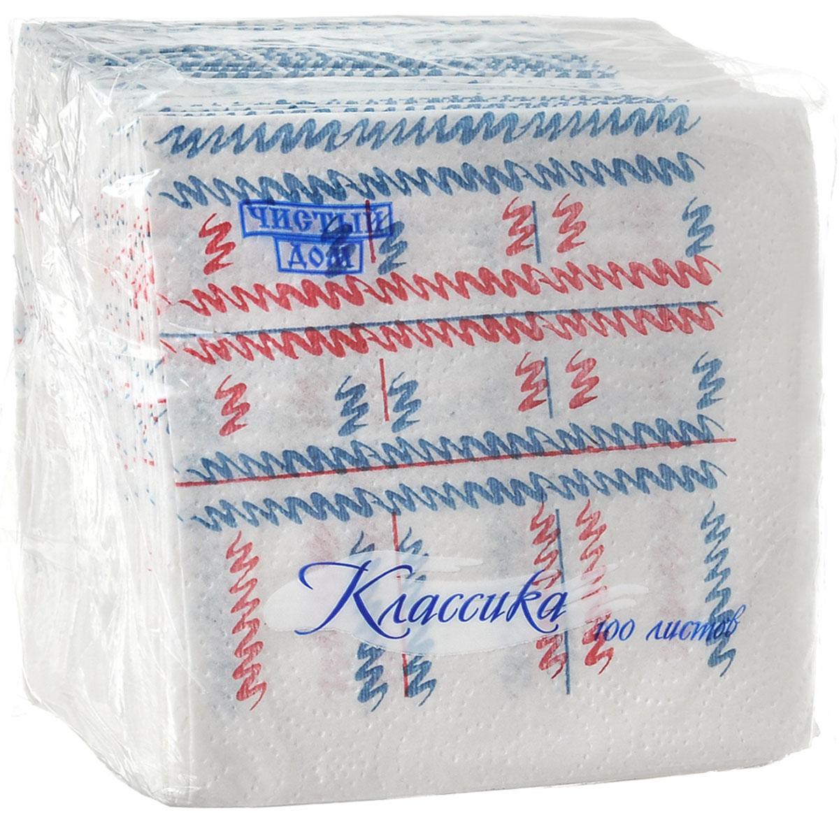 Салфетки бумажные Чистый дом Классика, однослойные, цвет: белый, синий, красный, 25 х 25 см, 100 шт4606920000043_синий, красныйОднослойные салфетки Чистый дом Классика выполнены из 100% целлюлозы. Салфетки подходят для косметического, санитарно-гигиенического и хозяйственного назначения. Нежные и мягкие. Салфетки украшены узором. Размер салфеток: 25 х 25 см.