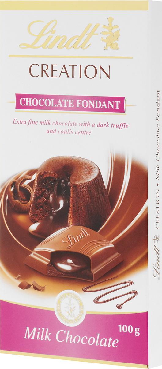 Lindt Creation Шоколад Фондан молочный шоколад c начинкой, 100 г3046920042710Популярный французский десерт Шоколад Фондан теперь воплощен в плитке шоколада Lindt creation! Мэтры Шоколатье создали признанный во всем мире десерт, соединив его с превосходным молочным шоколадом Lindt. Уважаемые клиенты! Обращаем ваше внимание, что полный перечень состава продукта представлен на дополнительном изображении.
