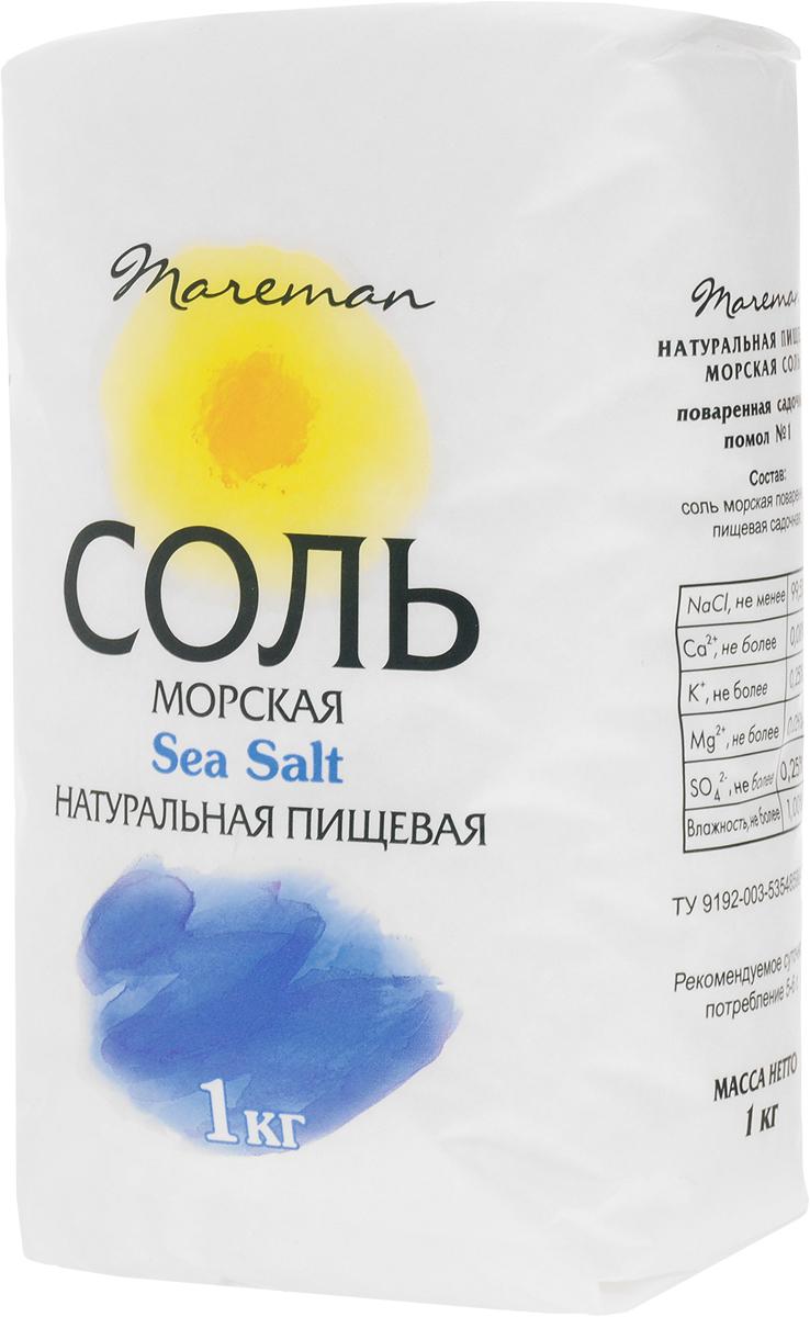 Mareman соль морская пищевая средняя помол №1, 1 кг921Натуральная морская соль Mareman - хороший источник основных природных минералов, натуральный продукт, оказывающий оздоровительное воздействие на организм человека при регулярном использовании в пищу. Морская соль Mareman производится только в виде универсального среднего помола (помол №1). Такой помол рекомендован к использованию во всех видах готовки пищи, а также для консервации, засолки овощей, рыбы и тому подобному. Натуральная морская соль Mareman создана с учетом тенденций современного рынка в качестве здоровой альтернативы обычной каменной столовой соли. Рекомендуемое суточное потребление 5-6 г.