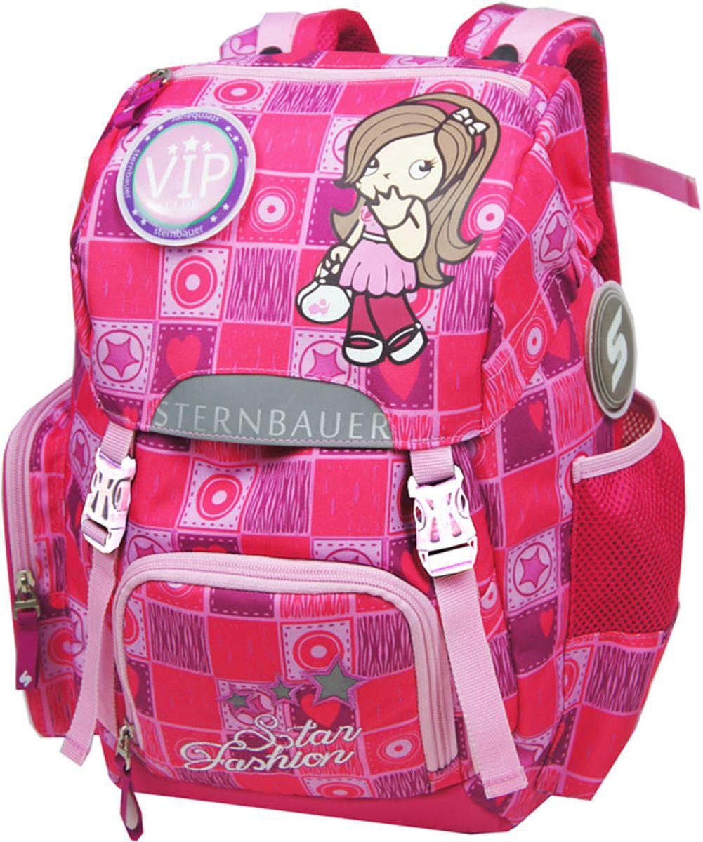 Sternbauer Рюкзак школьный SB цвет розовый 56015601Новая серия рюкзаков с кулиской Компактный размер - вместительный объем Вес всего 800 грамм Ортопедическая спинка с анатомическими вставками Нагрудный фиксатор Дополнительный внутренний объем за счет кулиски Плотное дно