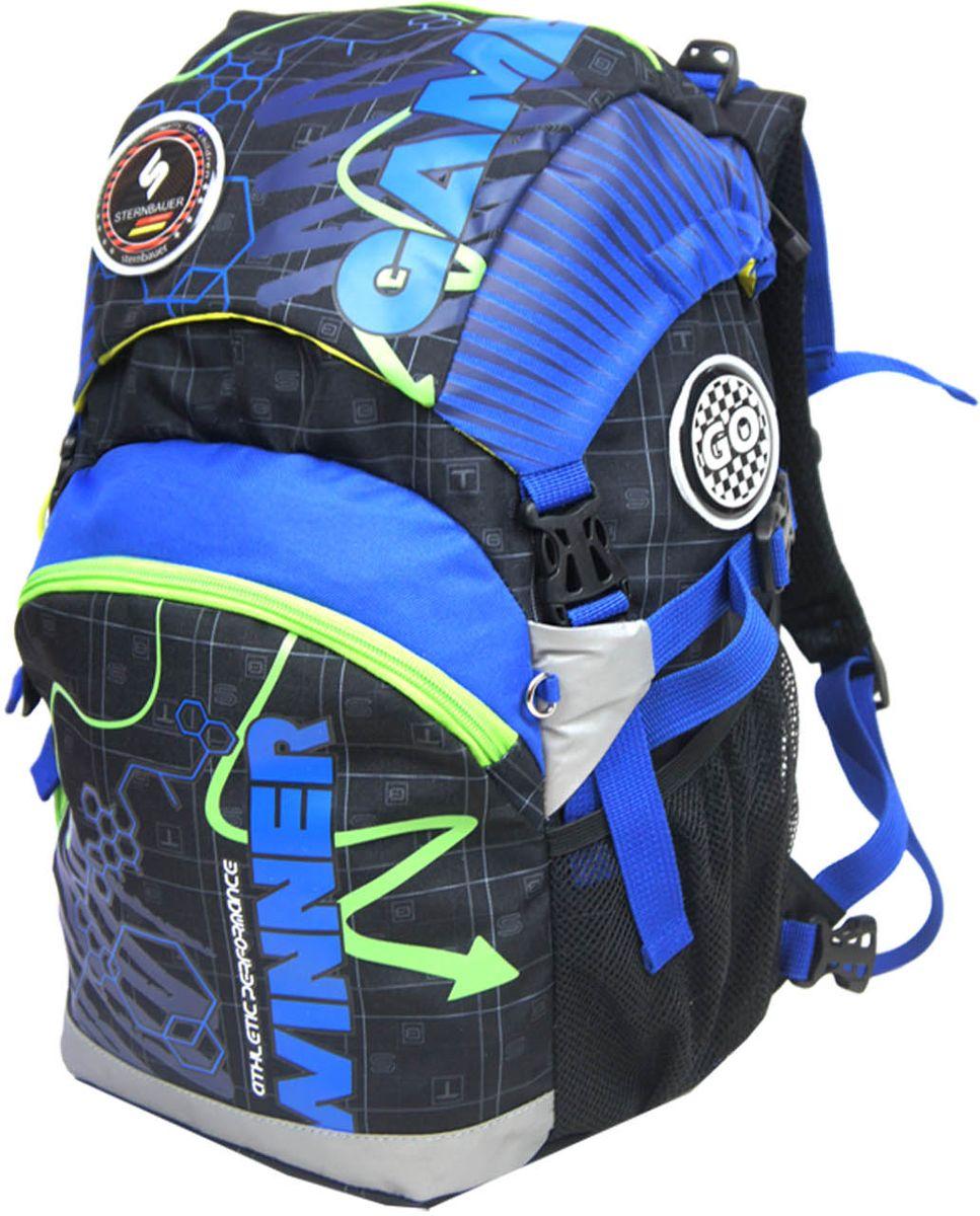 Sternbauer Рюкзак школьный SB цвет синий5605Новая серия рюкзаков с кулиской Компактный размер - вместительный объем Вес всего 800 грамм Ортопедическая спинка с анатомическими вставками Нагрудный фиксатор Дополнительный внутренний объем за счет кулиски Плотное дно