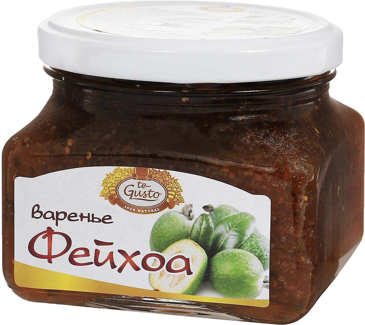 te Gusto Варенье из фейхоа, 430 г4657155300897Варенье te Gusto сварено из свежих ягод фейхоа, выращенных в Армении. Фейхоа - единственная ягода, содержание йода в которой не меньше, чем в морепродуктах. В кожуре плода содержатся биологически активные вещества: кахетин и лейкоантоцин, которые являются мощными антиоксидантами обладающие профилактическим действием на онкологические заболевания. Витамин С и ароматные эфирные масла фейхоа применяются при лечении простудных заболеваний, ОРЗ и гриппа, а также в качестве иммуномодулятора. Для лечения лучше употреблять плоды с теплым питьем в виде варенья. Плоды фейхоа врачи назначают людям с нарушениями работы щитовидной железы и при умственных нагрузках.