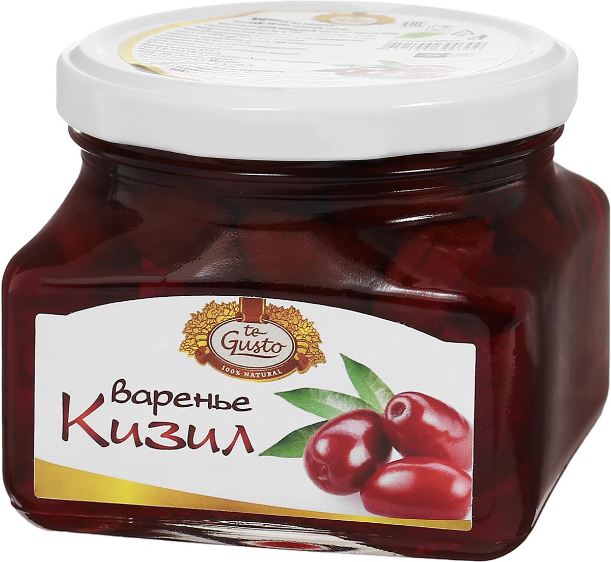 te Gusto Варенье из кизила, 430 г4657155300309Ягоды кизила имеют освежающий кисло-сладкий вкус, поскольку они очень богаты витамином С и многими органическими кислотами. Именно благодаря наличию аскорбиновой кислоты эти ягоды рекомендуются включать в рацион тех, кто страдает от простудных заболеваний, таких как ангина, грипп, бронхит, ОРВИ и многие другие. Витамин С также жизненно необходим нашему организму для поддержания функции иммунитета и усиления защиты организма от различных заболеваний. Для того, чтобы воспользоваться указанными выше полезными свойствами кизила, необходимо употреблять его в виде отвара или варенья из ягод. Кизил также полезен тем, кто страдает от различных недугов, связанных с плохим пищеварением. Это и несварение желудка, и плохой аппетит, и повышенная кислотность, и изжога. Кизил очень богат такими натуральными веществами, как фитонциды, которые известны своими антибактериальными и антиинфекционными свойствами. Поэтому ягоды кизила могут защитить от внутренних инфекций и заражений. Сварено с любовью...