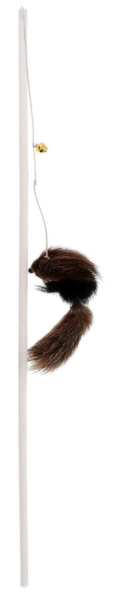 Игрушка для кошек Zoobaloo Дразнилка. Меховой зверек, цвет: черный, коричневый, серый, длина 65 см104_черный, коричневый, серыйИгрушка для кошек Zoobaloo Дразнилка. Меховой зверек с пластиковым стержнем дополнена подвешенной на резинке меховой игрушкой. Игрушка оснащена колокольчиком, звук которого будет привлекать внимание вашего питомца. Дразнилка превосходно развивает охотничьи инстинкты вашей кошки, а также моторику передних лап и когтей. Такая игрушка порадует вашего любимца, а вам доставит массу приятных эмоций, ведь наблюдать за игрой всегда интересно и приятно. Длина стержня: 38 см. Общая длина игрушки: 65 см.