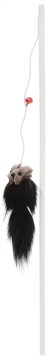 """Игрушка для кошек Zoobaloo """"Дразнилка. Меховой зверек"""", цвет: черный, светло-коричневый, длина 65 см"""