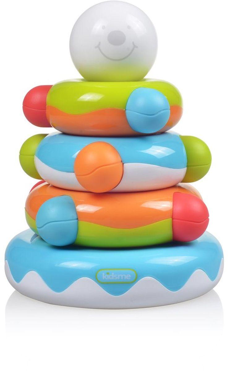 Kidsme Пирамидка Собирай и учись9283Отличная игрушка- пирамида помогает развивать логику и научит вашего ребенка распознавать цвета, размеры, форму, рельеф. Пирамида обязательно займет ребенка! - Помогает развивать логику; - Помогает развивать мелкую и крупную моторику рук; - Тренирует навыки распознавания цветов; Обучающая игрушка сделана из качественных и безопасных для ребенка материалов: Polypropylen и ABS. Возраст: 6 месяцев