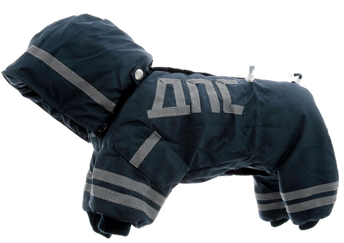 Комбинезон для собак Kuzer-Moda ДПС, для мальчика, утепленный, цвет: синий, серый. Размер XSKZ003149Комбинезон для собак Kuzer-Moda ДПС стилизован под форму сотрудников автоинспекции. Изделие отлично подойдет для прогулок в прохладную погоду. Комбинезон изготовлен из прочной, ткани, которая сохранит тепло и обеспечит отличный воздухообмен. Комбинезон застегивается на кнопки, благодаря чему его легко надевать и снимать. Ворот, низ рукавов и брючин оснащены резинками, которые мягко обхватывают шею и лапки, не позволяя просачиваться холодному воздуху. Изделие снабжено светоотражающими элементами. На пояснице имеются затягивающиеся шнурки, которые также не позволяют проникнуть холодному воздуху. Благодаря такому комбинезону простуда не грозит вашему питомцу, и он не даст любимцу продрогнуть на прогулке. Длина по спинке 26 см.