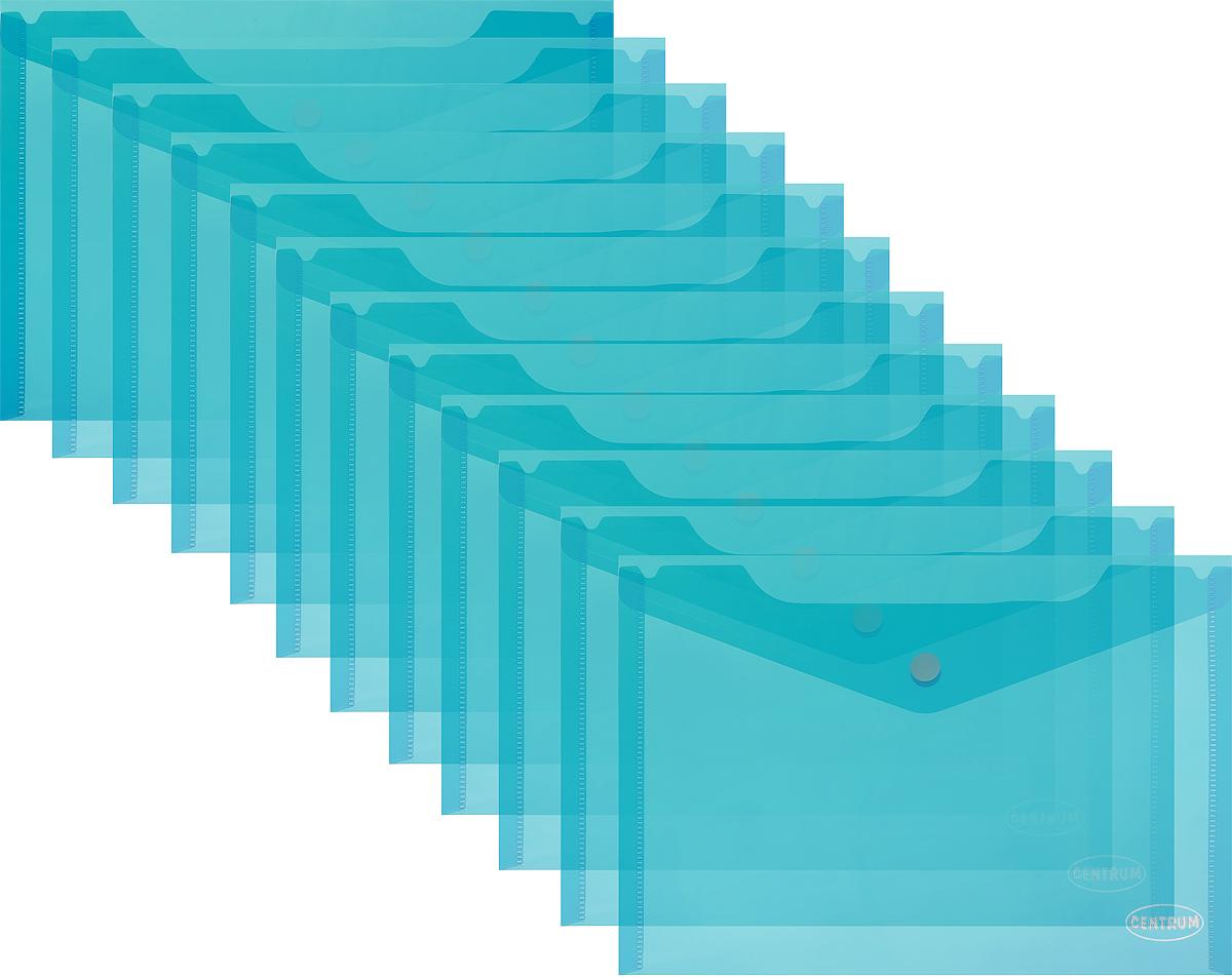 Centrum Папка-конверт на кнопке цвет бирюзовый 12 шт80625_бирюзовыйПапка-конверт на кнопке Centrum - это удобный и функциональный офисный инструмент, предназначенный для хранения и транспортировки рабочих бумаг и документов формата А5. Папка изготовлена из полупрозрачного пластика бирюзового цвета и закрывается клапаном на кнопке.