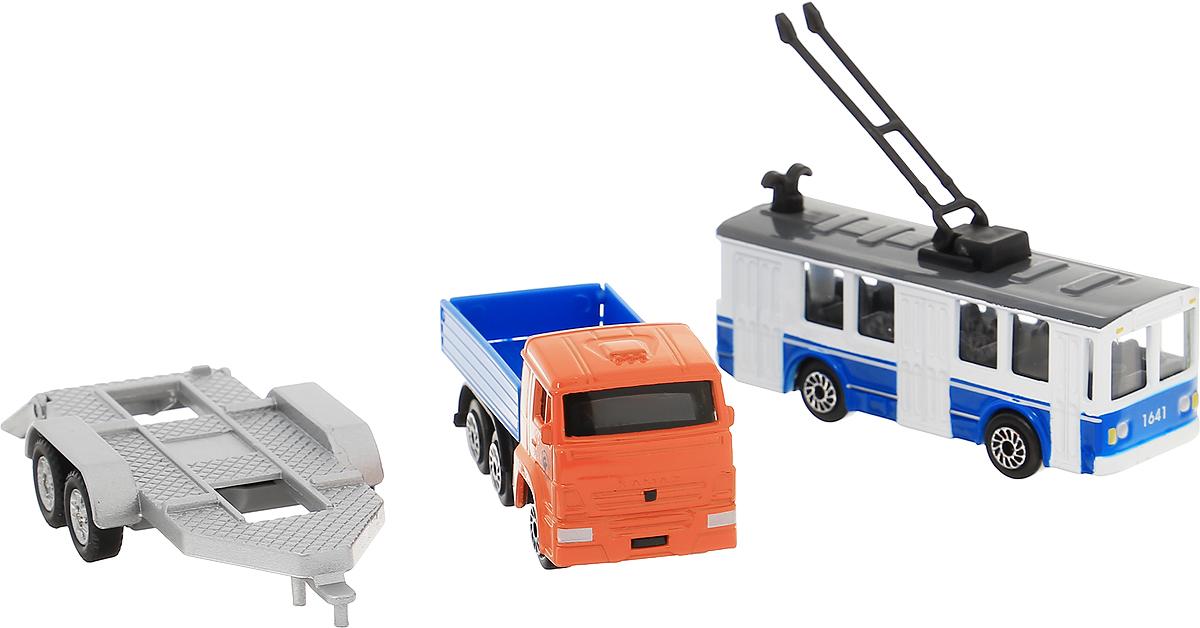 ТехноПарк Машинка КамАЗ с троллейбусом на прицепеSB-16-09WB_троллейбусНабор машинок ТехноПарк - отличный способ почувствовать себя настоящим водителем. Каждый мальчик, который любит играть с машинками, быстро придумает различные сюжеты игры и будет безумно рад таким игрушкам. Набор состоит из двух машинок - это грузовик марки КамАЗ с прицепом и троллейбус. Играть можно как с двумя игрушками сразу, именно используя тягач в качестве буксира, или же по отдельности. Игрушки выполнены из качественных и безопасных материалов.