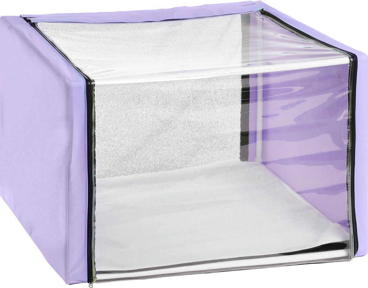 Клетка для животных Elite valley, выставочная, панорамная, цвет: сиреневый, черный, прозрачный, 76 х 56 х 56 смК-11/2_сиреньКлетка Elite Valley предназначена для показа кошек и собак на выставках. Изделие выполнено из плотного текстиля и каркаса. Клетка оснащена пленкой и сеткой, которые закрываются на застежку-молнию. В комплект палатки входит съемная подстилка, выполненная из искусственного меха. В собранном виде палатка довольно компактна, при хранении занимает мало места. Палатка переносится в сумке, которая входит в комплект. Для удобной переноски чехол имеет ручки, также на чехле имеется 2 больших кармана.