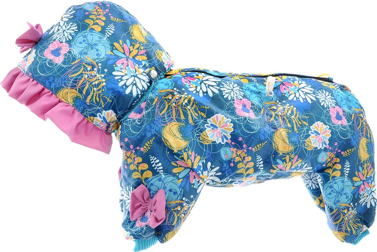 Комбинезон для собак Kuzer-Moda Мариска, утепленный, для девочки, цвет: темно-бирюзовый, розовый, желтый. Размер MKZ001823Утепленный комбинезон для собак Kuzer-Moda Мариска, украшенный однотонными рюшами и забавными бантиками на передних лапках и капюшоне, отлично подойдет для прогулок в холодное время года. Комбинезон изготовлен из плащевки с утеплителем из синтепона, который сохранит тепло даже в сильные морозы. Комбинезон с капюшоном застегивается на кнопки и липучки, благодаря чему его легко надевать и снимать. Капюшон пристегивается при помощи кнопок. Низ рукавов и брючин оснащен трикотажными манжетами, которые мягко обхватывают лапки, не позволяя просачиваться холодному воздуху. На пояснице комбинезон затягивается на шнурок- кулиску. Благодаря такому комбинезону простуда не грозит вашему питомцу. Длина по спинке 32 см.