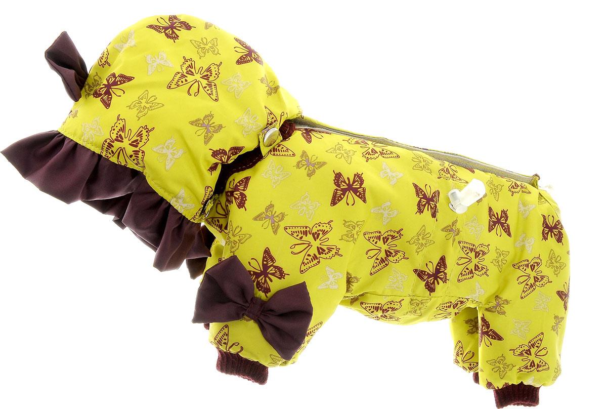 Комбинезон для собак Kuzer-Moda Мариска, утепленный, для девочки, цвет: бордово-коричневый, желтый. Размер XXSKZ001816Утепленный комбинезон для собак Kuzer-Moda Мариска, украшенный однотонными рюшами и забавными бантиками на передних лапках и капюшоне, отлично подойдет для прогулок в холодное время года. Комбинезон изготовлен из плащевки с утеплителем из синтепона, который сохранит тепло даже в сильные морозы. Комбинезон с капюшоном застегивается на кнопки и липучки, благодаря чему его легко надевать и снимать. Капюшон пристегивается при помощи кнопок. Низ рукавов и брючин оснащен трикотажными манжетами, которые мягко обхватывают лапки, не позволяя просачиваться холодному воздуху. На пояснице комбинезон затягивается на шнурок- кулиску. Благодаря такому комбинезону простуда не грозит вашему питомцу. Длина по спинке 25 см.