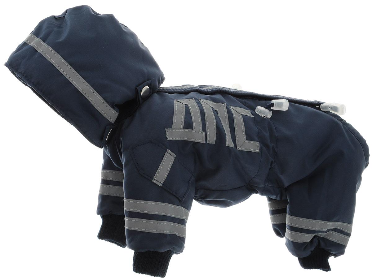 Комбинезон для собак Kuzer-Moda ДПС, для мальчика, утепленный, цвет: синий, серый. Размер XXSKZ003148Комбинезон для собак Kuzer-Moda ДПС стилизован под форму сотрудников автоинспекции. Изделие отлично подойдет для прогулок в прохладную погоду. Комбинезон изготовлен из прочной, ткани, которая сохранит тепло и обеспечит отличный воздухообмен. Комбинезон застегивается на кнопки, благодаря чему его легко надевать и снимать. Ворот, низ рукавов и брючин оснащены резинками, которые мягко обхватывают шею и лапки, не позволяя просачиваться холодному воздуху. Изделие снабжено светоотражающими элементами. На пояснице имеются затягивающиеся шнурки, которые также не позволяют проникнуть холодному воздуху. Благодаря такому комбинезону простуда не грозит вашему питомцу, и он не даст любимцу продрогнуть на прогулке. Длина по спинке 23 см.