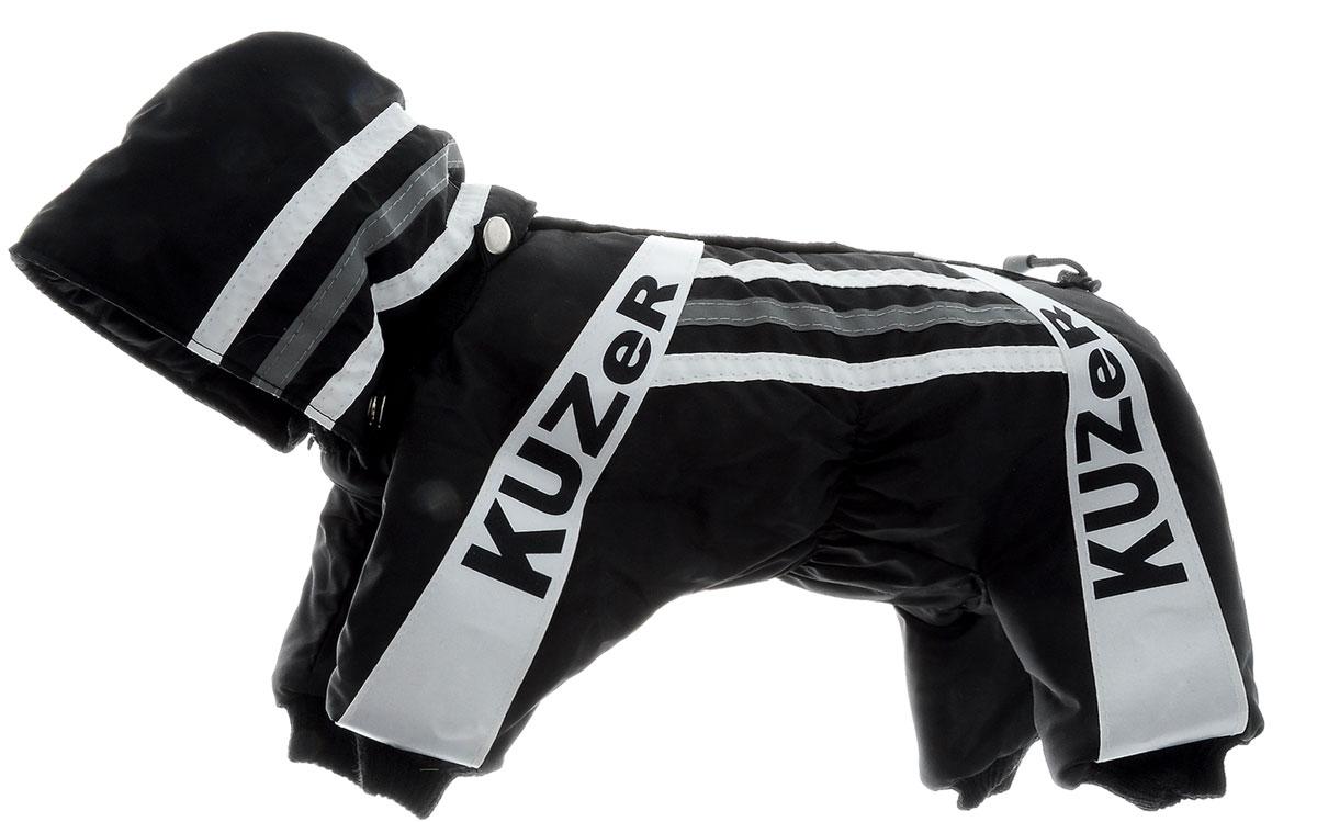 Комбинезон для собак Kuzer-Moda Игла, утепленный, для мальчика, цвет: черный, белый. Размер XSKZ000506Комбинезон для собак Kuzer-Moda  Игла отлично подойдет для прогулок в прохладную погоду. Комбинезон изготовлен из прочной, ткани, которая сохранит тепло и обеспечит отличный воздухообмен. Комбинезон с капюшоном застегивается на кнопки, благодаря чему его легко надевать и снимать. Капюшон пристегивается при помощи кнопок. Ворот, низ рукавов и брючин оснащены трикотажными резинками, которые мягко обхватывают шею и лапки, не позволяя просачиваться холодному воздуху. Изделие снабжено светоотражающей лентой. На пояснице имеются затягивающиеся шнурки, которые также не позволяют проникнуть холодному воздуху. Благодаря такому комбинезону простуда не грозит вашему питомцу, и он не даст любимцу продрогнуть на прогулке. Длина по спинке 27 см.