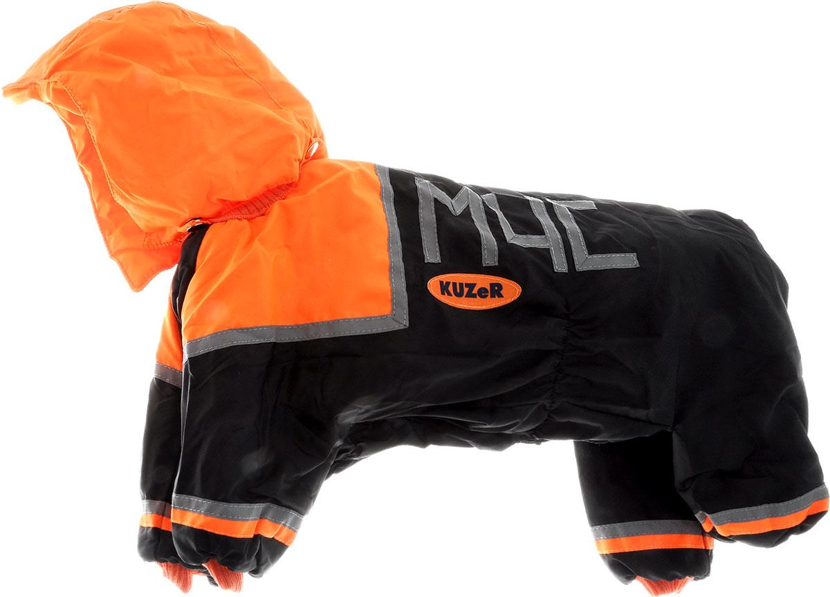 Комбинезон для собак Kuzer-Moda МЧС, для мальчика, утепленный, цвет: черный, оранжевый. Размер XLKZ001688Комбинезон для собак Kuzer-Moda МЧС отлично подойдет для прогулок в прохладную погоду. Комбинезон изготовлен из прочной, ткани, которая сохранит тепло и обеспечит отличный воздухообмен. Комбинезон с капюшоном застегивается на кнопки, благодаря чему его легко надевать и снимать. Капюшон пристегивается при помощи кнопок. Ворот, низ рукавов и брючин оснащены резинками, которые мягко обхватывают шею и лапки, не позволяя просачиваться холодному воздуху. Изделие снабжено светоотражающими элементами. На пояснице имеются затягивающиеся шнурки, которые также не позволяют проникнуть холодному воздуху. Благодаря такому комбинезону простуда не грозит вашему питомцу, и он не даст любимцу продрогнуть на прогулке. Длина по спинке 36 см.
