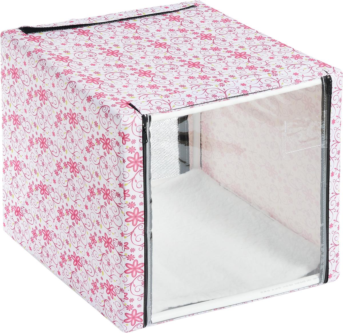 Клетка для животных Elite Valley, выставочная, цвет: белый, розовый, зеленый, 56 х 56 х 56 см. К-10/1К-10/1_цветы на беломКлетка Elite Valley предназначена для показа кошек и собак на выставках. Она выполнена из плотного текстиля, каркас - пластиковые трубки. Клетка оснащена съемной сеткой. Внутри имеется мягкая подстилка, выполненная из искусственного меха. Прозрачную пленку можно прикрыть шторкой. Боковые стенки закрываются на замки-молнии. Палатка быстро собирается и разбирается. В комплекте сумка-чехол для удобной транспортировки.