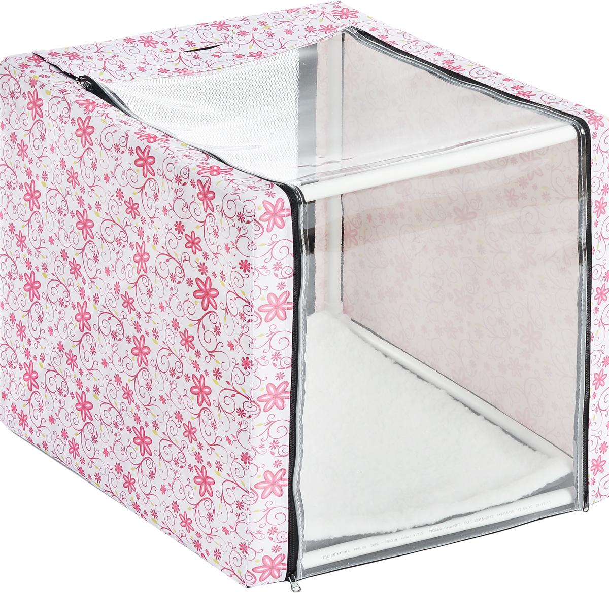 Клетка для животных Elite Valley, выставочная, цвет: белый, розовый, зеленый, 56 х 56 х 56 смК-11/1_цветы на беломКлетка Elite Valley предназначена для показа кошек и собак на выставках. Она выполнена из плотного текстиля, каркас - пластиковые трубки. Клетка оснащена пленкой и сеткой. Внутри имеется мягкая подстилка, выполненная из искусственного меха. Боковые стенки закрываются на замки-молнии. Палатка быстро собирается и разбирается. В комплекте сумка-чехол для удобной транспортировки.
