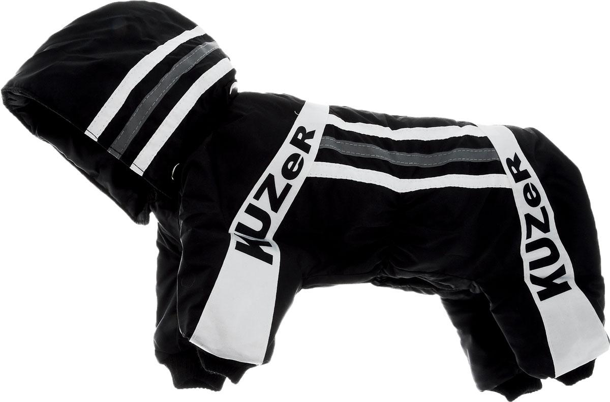Комбинезон для собак Kuzer-Moda Игла, утепленный, для мальчика, цвет: черный, белый. Размер SKZ000505Комбинезон для собак Kuzer-Moda  Игла отлично подойдет для прогулок в прохладную погоду. Комбинезон изготовлен из прочной, ткани, которая сохранит тепло и обеспечит отличный воздухообмен. Комбинезон с капюшоном застегивается на кнопки, благодаря чему его легко надевать и снимать. Капюшон пристегивается при помощи кнопок. Ворот, низ рукавов и брючин оснащены трикотажными резинками, которые мягко обхватывают шею и лапки, не позволяя просачиваться холодному воздуху. Изделие снабжено светоотражающей лентой. На пояснице имеются затягивающиеся шнурки, которые также не позволяют проникнуть холодному воздуху. Благодаря такому комбинезону простуда не грозит вашему питомцу, и он не даст любимцу продрогнуть на прогулке. Длина по спинке 29 см.