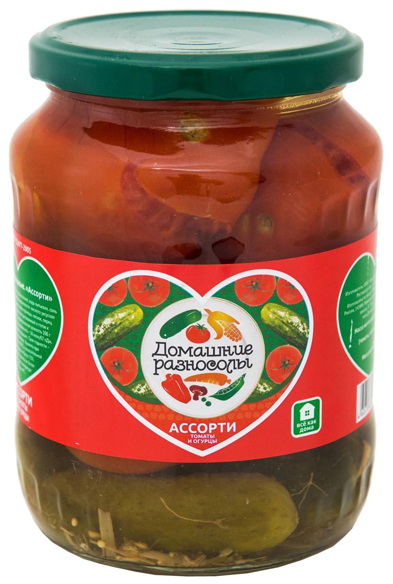 Домашние разносолы ассорти томаты и огурцы, 720 мл206112052310002Ликопин, который содержится в помидорах, продлевает молодость и красоту на долгие годы. Этот достаточно сильный антиоксидант, который имеет способность справляться с разными болезнями. Например, регулярное употребление маринованных помидоров снижает риск возникновения различных заболеваний сердца. Калорийность маринованных огурцов невероятно мала, поэтому они представляют собой неплохой вариант для диетического питания. Кроме того, наблюдается положительный эффект и со стороны пищеварительного тракта – маринованные огурцы способны возбуждать аппетит и усиливать пищеварение.