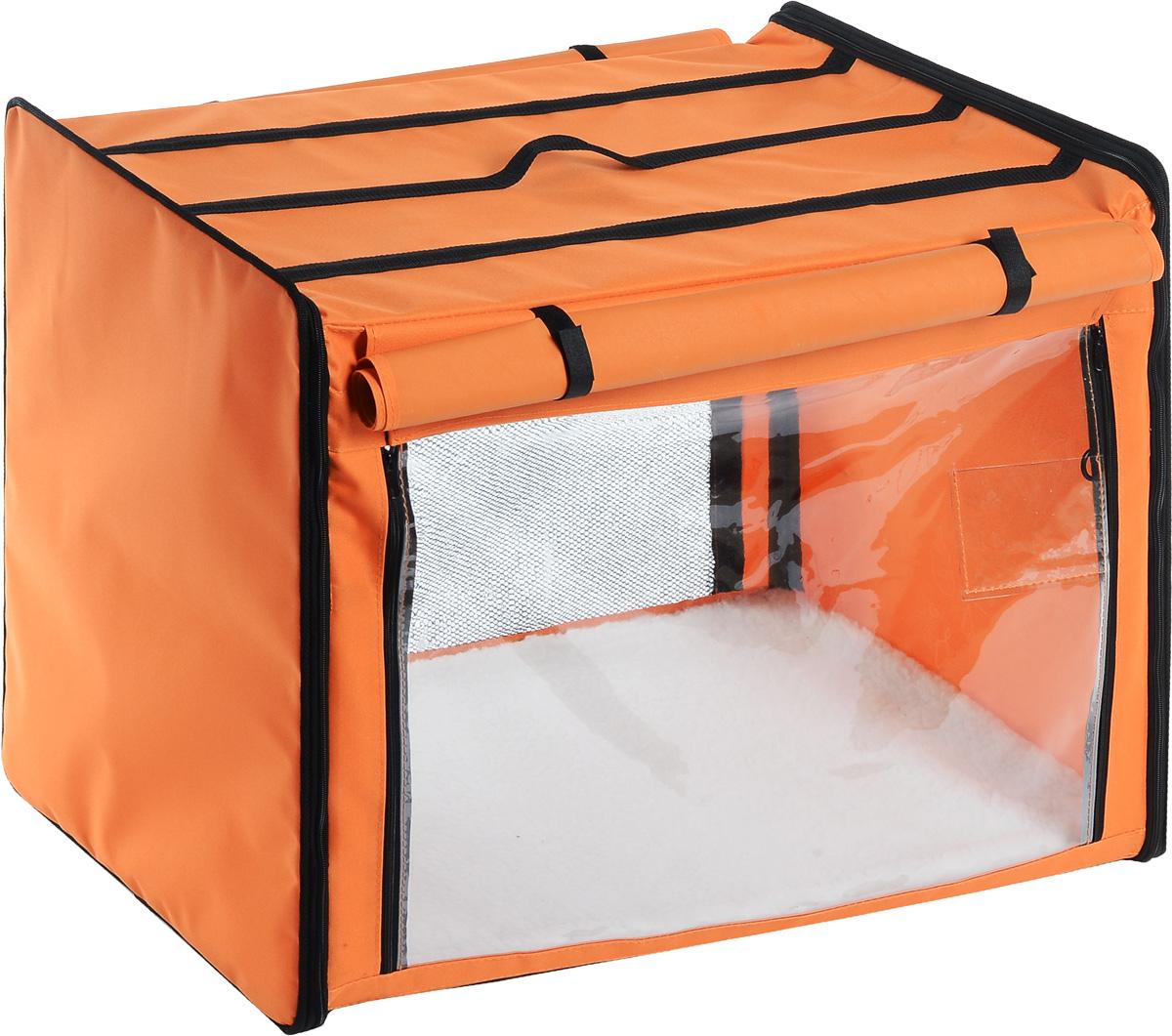 Клетка выставочная Elite Valley, цвет: оранжевый, черный, 75 х 52 х 62 см. К-1К-1_оранжевыйКлетка Elite Valley предназначена для показа кошек и собак на выставках. Она выполнена из плотного текстиля, каркас - металлический. Клетка оснащена съемными пленкой и сеткой. Внутри имеется мягкая подстилка, выполненная из искусственного меха. Прозрачную пленку можно прикрыть шторкой. Сверху расположена ручка для переноски. В комплекте сумка-чехол для удобной транспортировки.