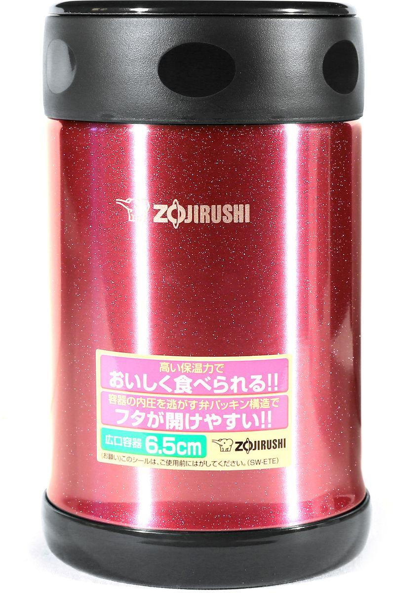 Термоконтейнер Zojirushi, цвет: вишневый, черный, 0,5 лSW-ETE 50-PEТермоконтейнер(термос) с широким горлом для ланча, всемирно известной японской компании ZOJIRUSHI, позволяет сохранить горячим или холодным одно блюдо или напиток. Благодаря тефлоновому покрытию еда не имеет прямого контакта с металлом, сохраняя свой изначальный вкус. Ориентировочное значение температуры для полностью заполненного термоса при начальной температуре жидкости в термосе 95 °C и температуре окружающего воздуха 20 °C через 6 часов: 64 °C. За легкость и прочность, сочетающиеся с великолепным сохранением температуры находящихся внутри продуктов, их по достоинству оценили любители активного отдыха. Так же будет практичным решением, для тех, кто привык брать обед на работу или для ребенка, который может взять горячее питание в школу. В комплект входит удобная и надежная сумка для переноски и хранения. Объем 0,5 л. Диаметр макс: 90 мм. Высота: 150 мм. Вес : 0,32кг. Вес с сумкой 0,4 кг