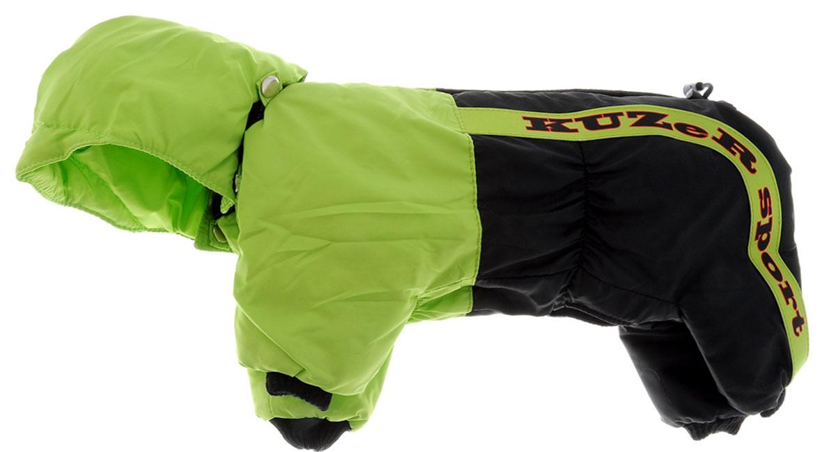 Комбинезон для собак Kuzer-Moda Пилот, утепленный, для мальчика, цвет: черный, салатовый. Размер SKZ001822Утепленный комбинезон для собак Kuzer-Moda Пилот, стилизованный под форму пилота-автогонщика, отлично подойдет для прогулок в холодное время года. Комбинезон изготовлен из плащевки, защищающей от ветра и снега, с утеплителем из синтепона, который сохранит тепло даже в сильные морозы. Комбинезон с капюшоном застегивается на кнопки, благодаря чему его легко надевать и снимать. Капюшон пристегивается при помощи кнопок. Низ рукавов и брючин оснащен трикотажными манжетами, которые мягко обхватывают лапки, не позволяя просачиваться холодному воздуху. На пояснице комбинезон затягивается на шнурок-кулиску. Благодаря такому комбинезону простуда не грозит вашему питомцу. Длина по спинке 28 см.