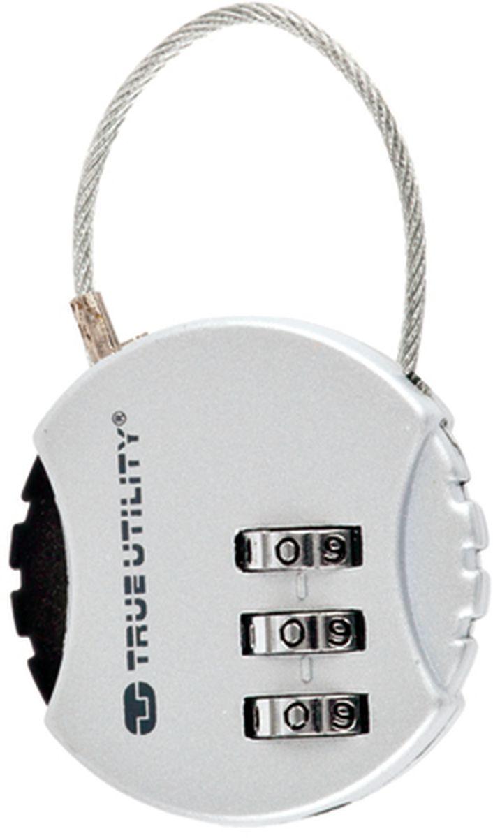 Брелок-кодовый замок True Utility, с тросом CombiLockТU209Кодовый замок с комбинацией из трех цифр обеспечивает сохранность вещей или ключей, стальной тросик, стойкий к надрезам. Диаметр замка 39 мм, высота 9 мм.