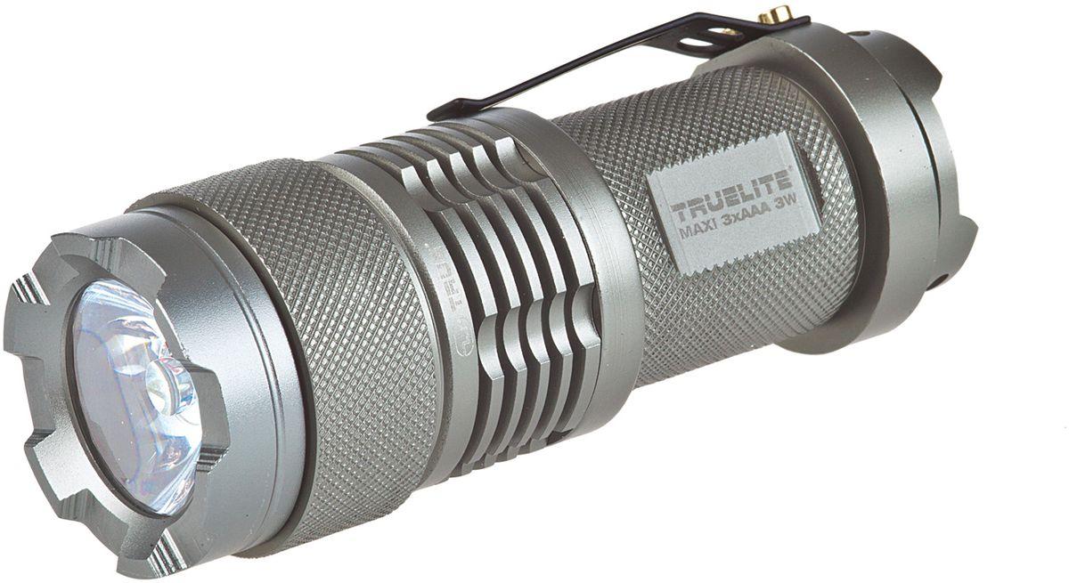 Фонарь ручной True Utility TrueLite MaxiТU100Высокопроизводительный фонарь с яркостью до 120 люмен. Инновационная линза была разработана специально для установки на источник света от светодиода. Фонари линейки TrueLite® отличаются мощным светодиодным лучом, отражателем высокой чистоты и управлением питания для регулировки яркости. Включение/выключение производится посредством поворота корпуса. Размеры: 106 х 36 х 36 мм. Яркость до 120 люмен. Мощность: 3 Вт. Время работы до 6 часов. Источник питания 3 батареи тип ААА(в комплект не входят).
