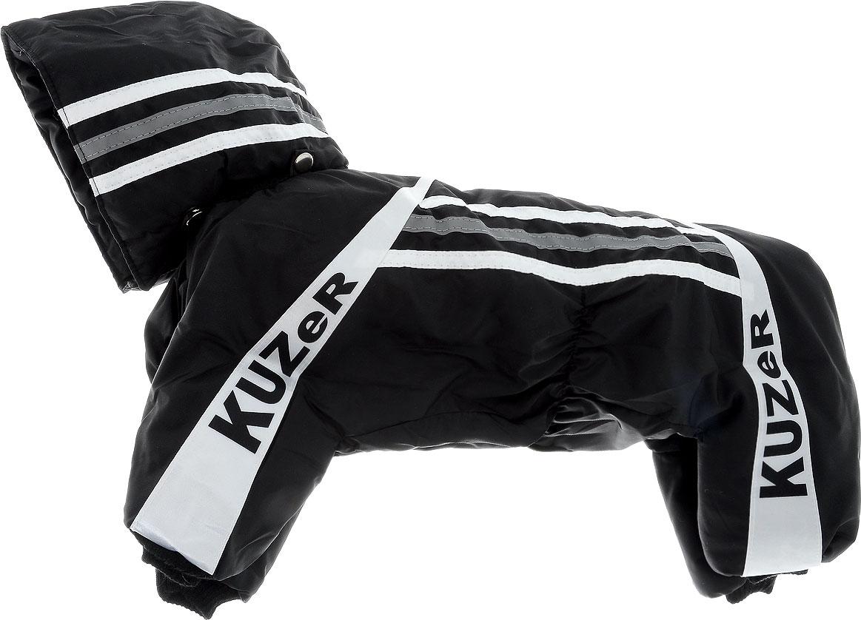 Комбинезон для собак Kuzer-Moda Игла, утепленный, для мальчика, цвет: черный, белый. Размер LKZ000510Комбинезон для собак Kuzer-Moda  Игла отлично подойдет для прогулок в прохладную погоду. Комбинезон изготовлен из прочной, ткани, которая сохранит тепло и обеспечит отличный воздухообмен. Комбинезон с капюшоном застегивается на кнопки, благодаря чему его легко надевать и снимать. Капюшон пристегивается при помощи кнопок. Ворот, низ рукавов и брючин оснащены трикотажными резинками, которые мягко обхватывают шею и лапки, не позволяя просачиваться холодному воздуху. Изделие снабжено светоотражающей лентой. На пояснице имеются затягивающиеся шнурки, которые также не позволяют проникнуть холодному воздуху. Благодаря такому комбинезону простуда не грозит вашему питомцу, и он не даст любимцу продрогнуть на прогулке. Длина по спинке 28 см.
