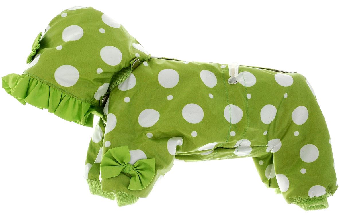 Комбинезон для собак Kuzer-Moda Мариска, утепленный, для девочки, цвет: зеленый, белый. Размер XSKZ001814Утепленный комбинезон для собак Kuzer-Moda Мариска, украшенный однотонными рюшами и забавными бантиками на передних лапках и капюшоне, отлично подойдет для прогулок в холодное время года. Комбинезон изготовлен из плащевки с утеплителем из синтепона, который сохранит тепло даже в сильные морозы. Комбинезон с капюшоном застегивается на кнопки и липучки, благодаря чему его легко надевать и снимать. Капюшон пристегивается при помощи кнопок. Низ рукавов и брючин оснащен трикотажными манжетами, которые мягко обхватывают лапки, не позволяя просачиваться холодному воздуху. На пояснице комбинезон затягивается на шнурок- кулиску. Благодаря такому комбинезону простуда не грозит вашему питомцу. Длина по спинке 28 см.