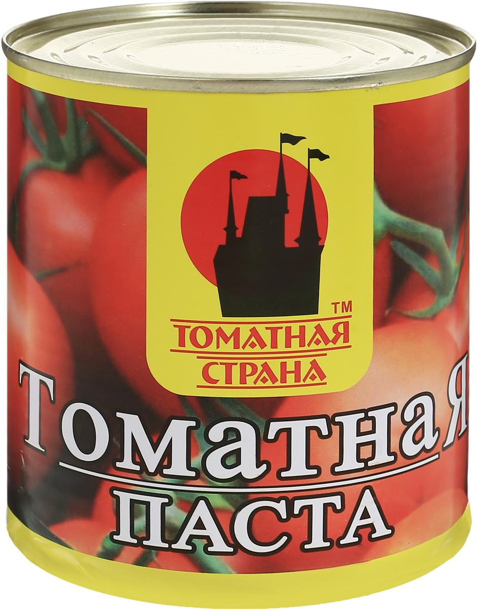 Томатная страна Паста томатная, 780 г81Томатная паста Томатная страна - кулинарная паста из помидоров. В процессе изготовления помидоры протирают для получения гомогенной массы, а затем концентрируют полученное изделие, в частности, путем уваривания. Томатная паста отличается от томат-пюре большей концентрацией - содержание сухих веществ 27%. Томатная паста может использоваться для изготовления кетчупа, восстановленного томатного сока и других продуктов на томатной основе. В небольших количествах используется для обогащения аромата соусов. Томатную пасту добавляют в супы, используют как основу соуса для пиццы.