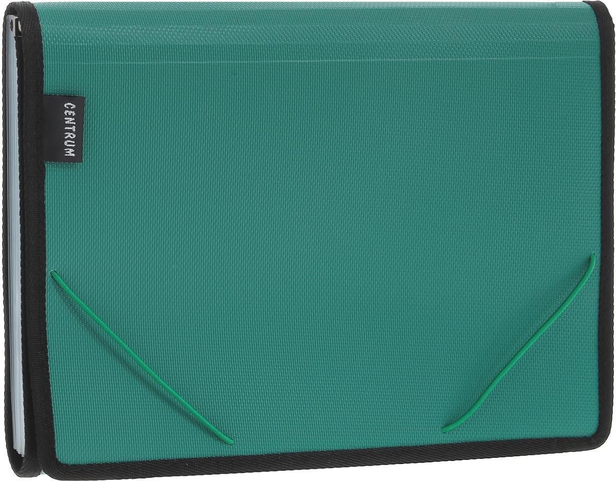 Centrum Папка на резинке 6 отделений цвет зеленый80017_зеленыйПапка Centrum - это удобный и функциональный офисный инструмент, предназначенный для хранения и транспортировки рабочих бумаг и документов формата А4. Папка с двойной угловой фиксацией резиновой лентой изготовлена из прочного высококачественного пластика и оформлена тиснением под текстиль. Папка состоит из 6 вместительных отделений с пластиковыми разделителями. Папка имеет опрятный и неброский вид. Края папки отделаны полиэстером, а уголки имеют закругленную форму, что предотвращает их загибание и помогает надолго сохранить опрятный вид обложки. Папка - это незаменимый атрибут для любого студента, школьника или офисного работника. Такая папка надежно сохранит ваши бумаги и сбережет их от повреждений, пыли и влаги.