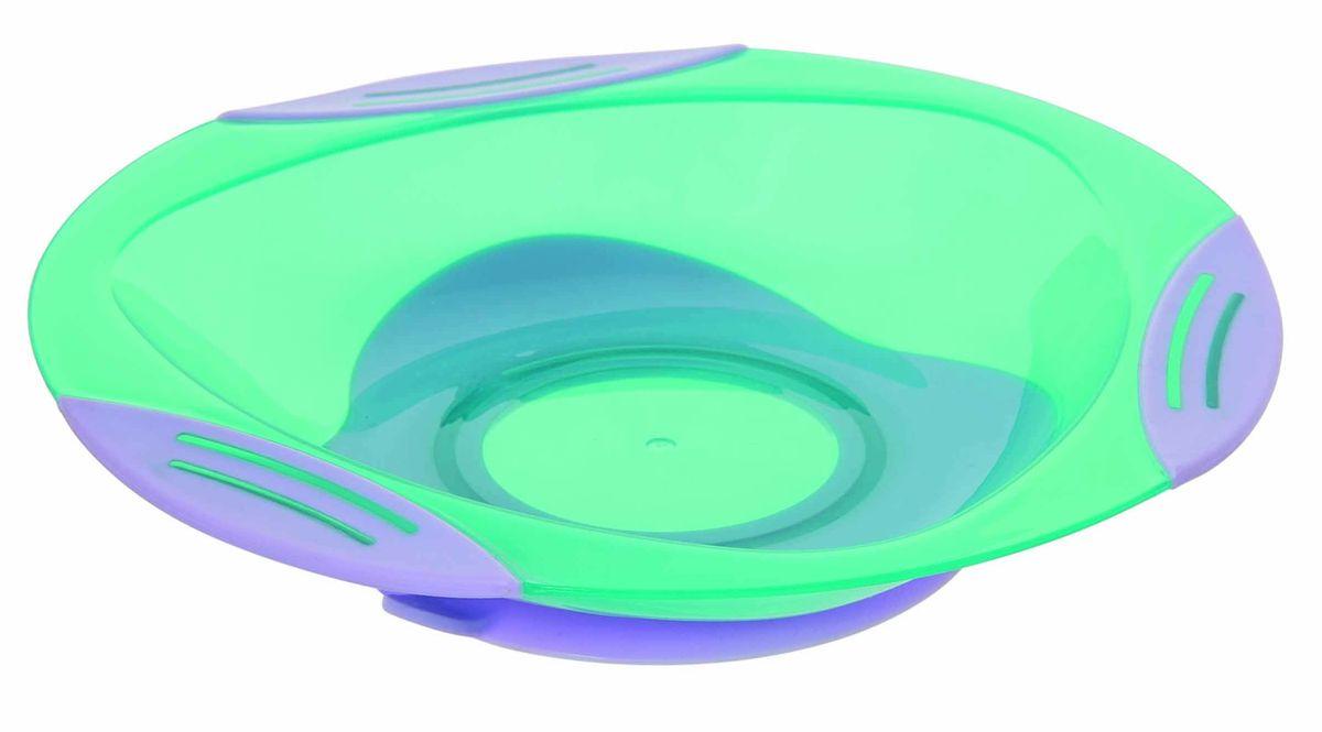 Мир детства Тарелка для вторых блюд от 4 месяцев цвет бирюзовый фиолетовый17366Тарелочка для вторых блюд подходит для горячей и холодной пищи. Тарелочка имеет: присоску, которая надежно фиксирует тарелочку на столе (специальный язычок на присоске позволяет легко отлепить тарелочку); по краям тарелочки три нескользящие вставки. ВНИМАНИЕ!!! Запрещено стерилизовать и разогревать в СВЧ-печи. Разрешено мыть в посудомоечной машине только в верхнем отделении. Не содержит Бисфенол-А.