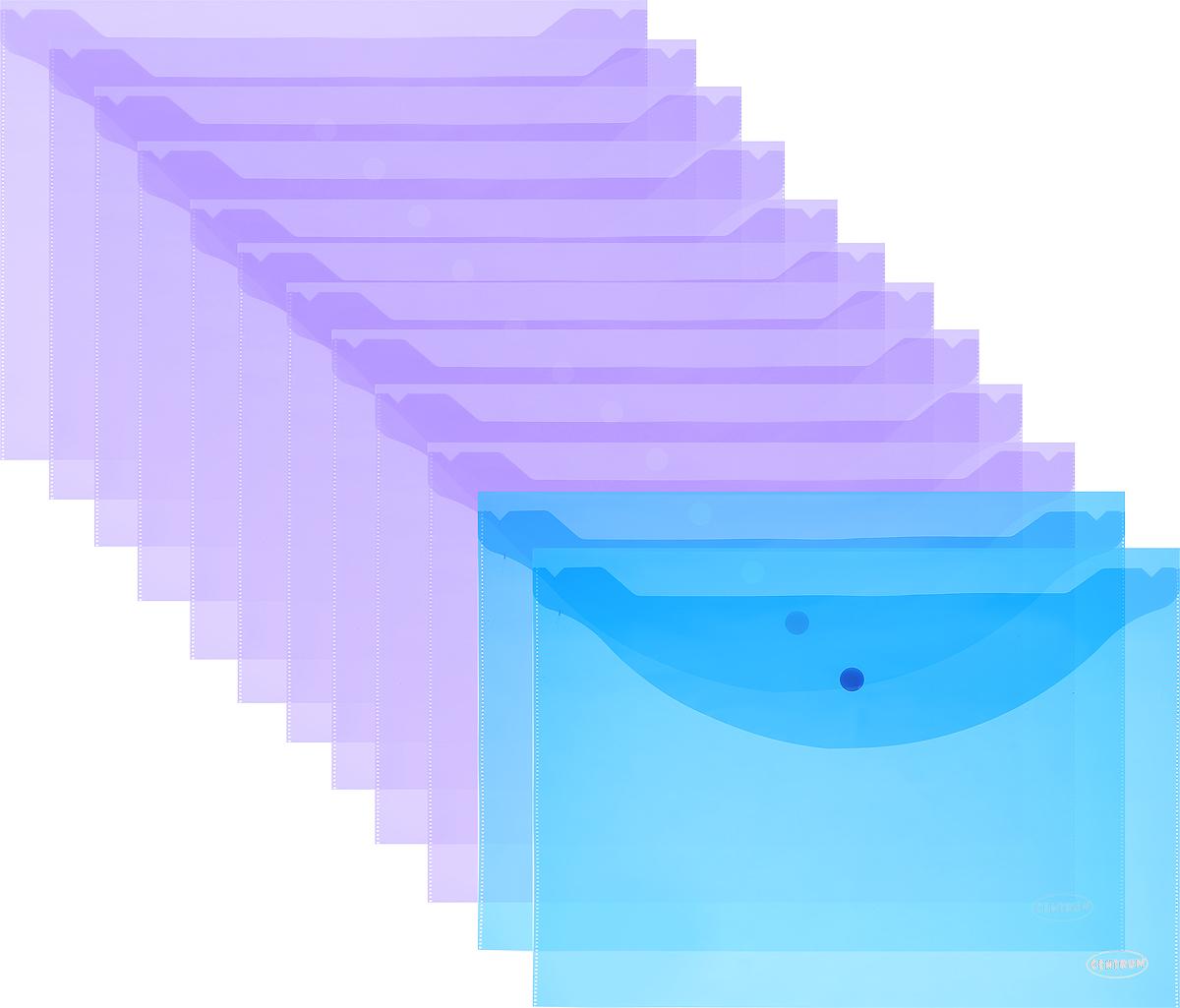 Centrum Папка-конверт на кнопке цвет фиолетовый синий 12 шт80024_фиолетовый, синийПапка-конверт на кнопке Centrum - это удобный и функциональный офисный инструмент, предназначенный для хранения и транспортировки рабочих бумаг и документов формата А4. Папка изготовлена из полупрозрачного полипропилена и закрывается клапаном на кнопке. В упаковке 12 папок.