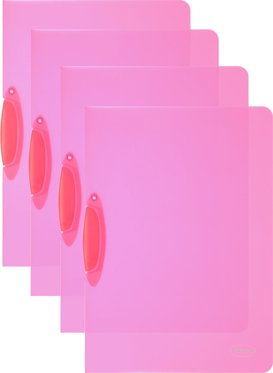 Centrum Папка с клипом цвет малиновый 4 шт80018_малиновыйПапка с клипом Centrum станет вашим верным помощником дома и в офисе. Это удобный и функциональный инструмент, предназначенный для хранения и транспортировки рабочих бумаг и документов формата А4. Папка изготовлена из прочного и высококачественного пластика, оснащена боковым клипом, позволяющим фиксировать неперфорированные листы. Уголки имеют закругленную форму, что предотвращает их загибание и помогает надолго сохранить опрятный вид обложки. В комплект входят 4 папки малинового цвета.