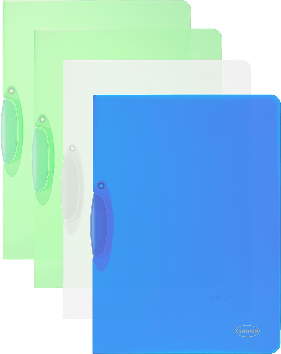 Centrum Папка с клипом цвет зеленый синий прозрачный 4 шт80018_зеленый, синий, прозрачныйПапка с клипом Centrum станет вашим верным помощником дома и в офисе. Это удобный и функциональный инструмент, предназначенный для хранения и транспортировки рабочих бумаг и документов формата А4. Папка изготовлена из прочного и высококачественного пластика, оснащена боковым клипом, позволяющим фиксировать неперфорированные листы. Уголки имеют закругленную форму, что предотвращает их загибание и помогает надолго сохранить опрятный вид обложки. В комплект входят 4 папки: две зеленого цвета, синяя и прозрачная.
