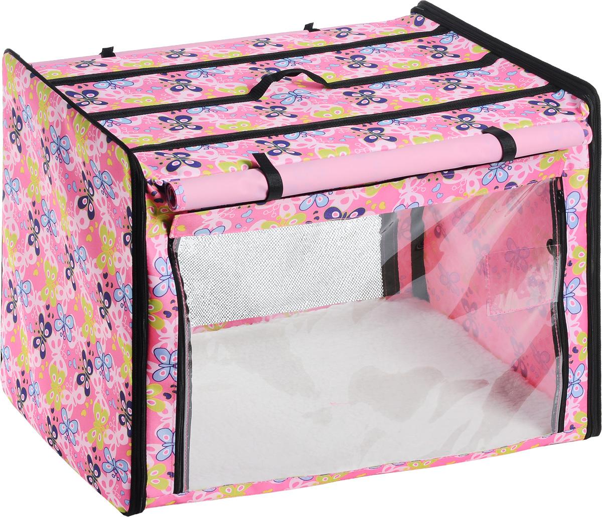Клетка выставочная Elite Valley, цвет: розовый, голубой, зеленый, 75 х 52 х 62 смК-2_розовый;бабочкиКлетка Elite Valley предназначена для показа кошек и собак на выставках. Она выполнена из плотного текстиля, каркас - металлический. Клетка оснащена съемными пленкой и сеткой. Внутри имеется мягкая подстилка, выполненная из искусственного меха. Прозрачную пленку можно прикрыть шторкой. Сверху расположена ручка для переноски. В комплекте сумка-чехол для удобной транспортировки.
