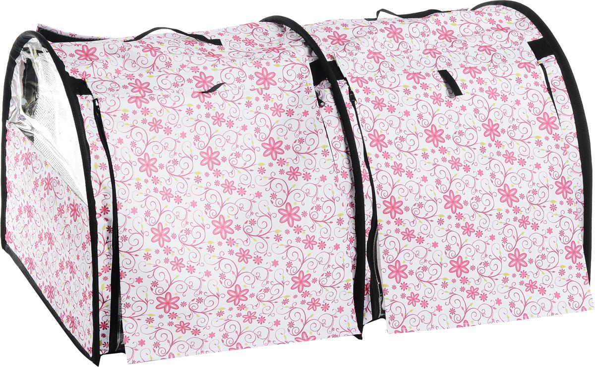 Клетка выставочная Elite Valley, двойная, цвет: белый, розовый, зеленый, 103 х 60 х 60 смК-8_цветы на беломКлетка Elite Valley предназначена для показа кошек и собак на выставках. Она выполнена из плотного текстиля, каркас - металлический. Клетка оснащена съемными пленкой и сеткой. Внутри имеется мягкая подстилка, выполненная из искусственного меха. Прозрачную пленку можно прикрыть шторкой. Сверху расположены ручки для переноски. В комплекте сумка-чехол для удобной транспортировки.