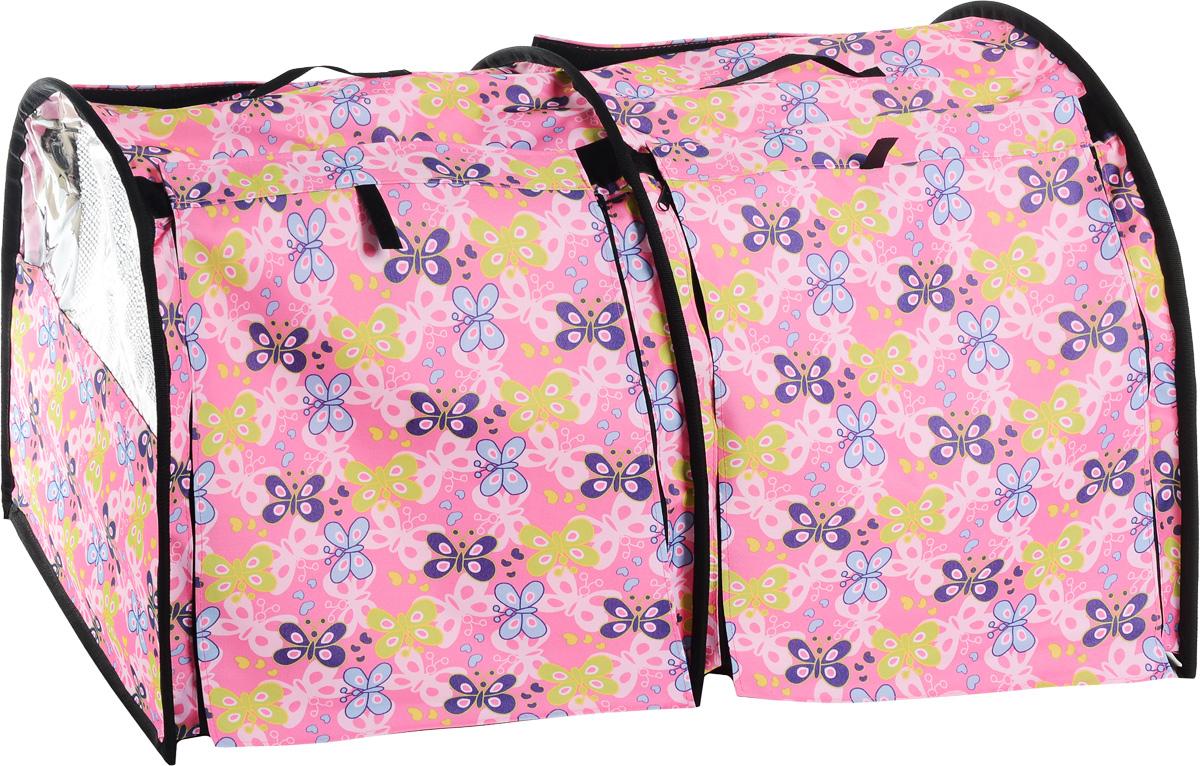 Клетка выставочная Elite Valley, двойная, цвет: розовый, голубой, зеленый, 103 х 60 х 60 смК-8_бабочки на розовомКлетка Elite Valley предназначена для показа кошек и собак на выставках. Она выполнена из плотного текстиля, каркас - металлический. Клетка оснащена съемными пленкой и сеткой. Внутри имеется мягкая подстилка, выполненная из искусственного меха. Прозрачную пленку можно прикрыть шторкой. Сверху расположены ручки для переноски. В комплекте сумка-чехол для удобной транспортировки.