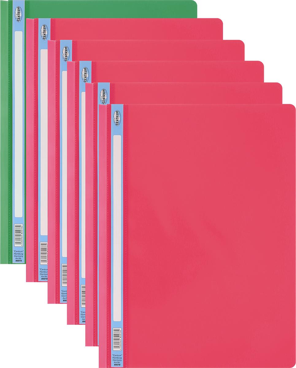 Centrum Папка-скоросшиватель цвет красный зеленый 6 шт80078_красный, зеленыйПапка-скоросшиватель Centrum - это удобный и функциональный офисный инструмент, предназначенный для хранения и транспортировки рабочих бумаг и документов формата А4. Изготовлена из полупрозрачного и прочного пластика, имеет прозрачный верхний лист и более плотный нижний. Папка оснащена металлическими скобами для фиксации перфорированных бумаг. В комплект входят 6 папок формата A4. Папка-скоросшиватель - это незаменимый атрибут для студента, школьника, офисного работника. Такая папка надежно сохранит ваши документы и сбережет их от повреждений, пыли и влаги.