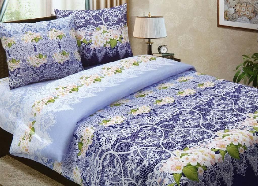 Комплект белья Primavera Очарование, евро, наволочки 70x70, 50x70, цвет: голубой80736