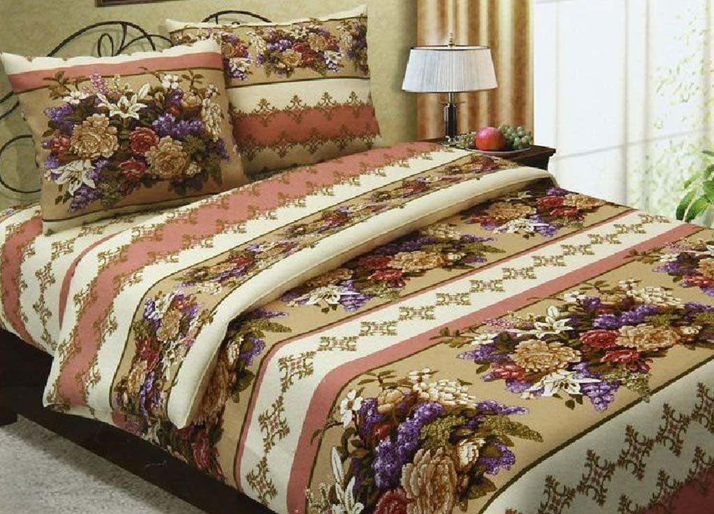 Комплект белья Primavera Вышивка цветок, семейный, наволочки 70x70, 50x70, цвет: бежевый80754