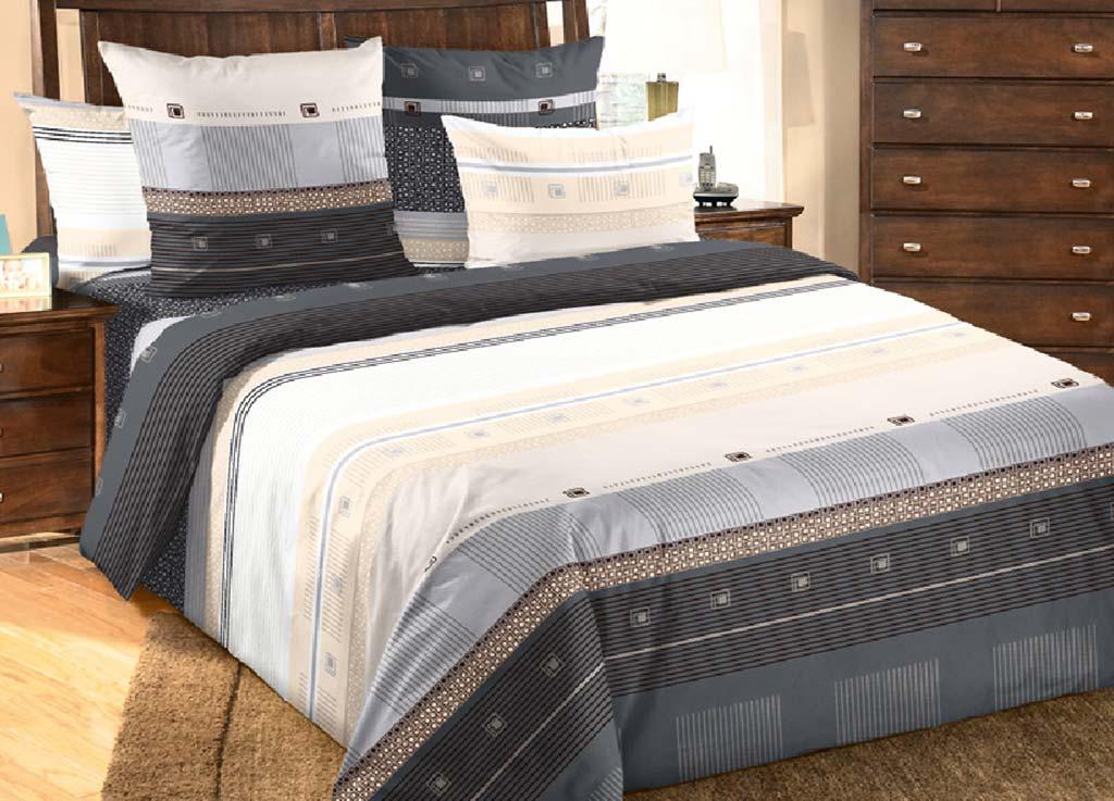 Комплект белья Primavera Полосы, семейный, наволочки 70x70, 50x70, цвет: серый80826
