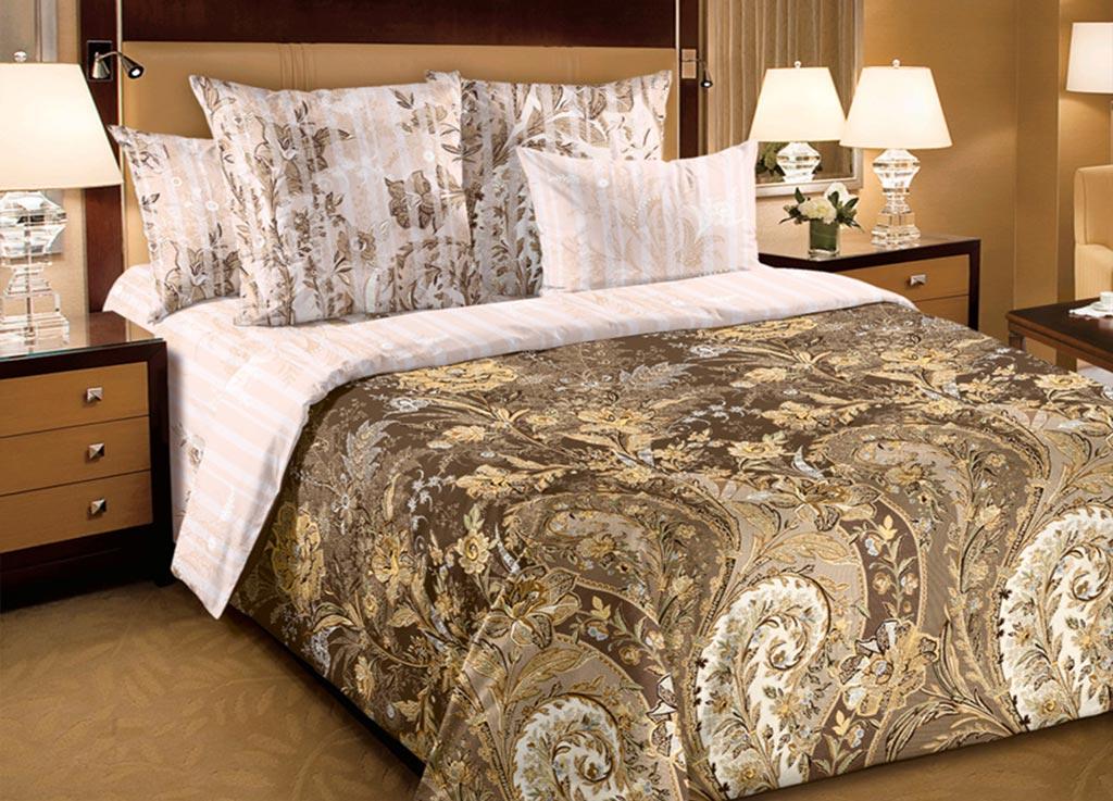 Комплект белья Primavera Узоры, семейный, наволочки 70x70, 50x70, цвет: коричневый80907